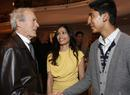 Clint Eastwood meets Slumdog Millionaire actors Frieda Pinto and Dev Patel