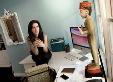 Screenwriter Aline Brosh Mckenna at her desk (Photography: BAFTA/Barry J Holmes).