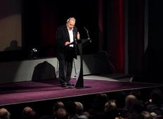 Sir Ronald Harwood prepares the audience for his lecture on screenwriting. (Photography: Jay Brooks)
