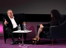 Tanya Seghatchian talks with Sir Ronald Harwood on his experiences with scriptwriting. (Photography: Jay Brooks)
