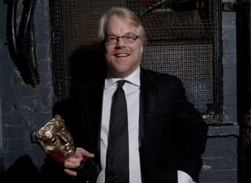 Philip Seymour Hoffman backstage at the British Academy Film Awards in 2006.