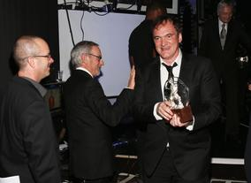 Quentin Tarantino fresh from the stage after receiving his Britannia Award for Excellence in Directing.