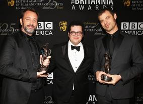 Trey Parker (left) and Matt Stone (right) received the Charlie Chaplin Britannia Award for Excellence in Comedy, presented by Josh Gad (centre).