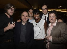Armando Iannuci with VEEP's Tim Kirkby, Randall Park, Sufe Bradshaw, Nelson Franklin and Roger Drew.