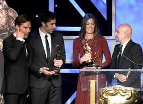 Honourees Benedict Cumberbatch, Sacha Baron Cohen, Kathryn Bigelow and Ben Kingsey on the Britannia Awards stage