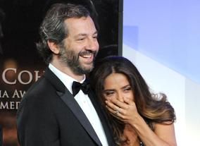 Judd Apatow and Salma Hayek react to Sacha Baron Cohen's hilarious acceptance speech