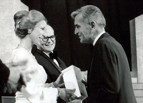 David Lean being presented with an Award by Princess Anne at the Film and Television Awards in the Royal Albert Hall on 6 March 1974. Sir Sidney Samuelson looks on.