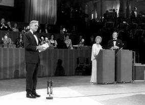 David Lean, Petula Clark and Eamonn Andrews at the Film and Television Awards at the Royal Albert Hall, 6 March 1974.