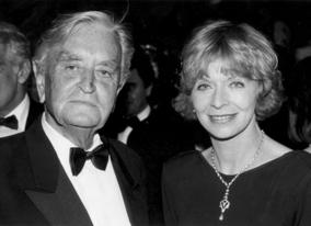 Sir David Lean and Susannah York at the British Gala Dinner held in honour of Sir David Lean, 20 May 1988, Cannes.