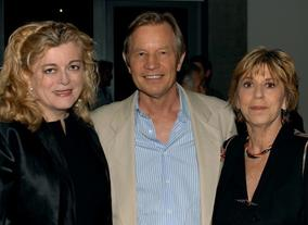 Michael York with the Heritage Archive Committee's Gabrielle Kelly and Clare Baren.
