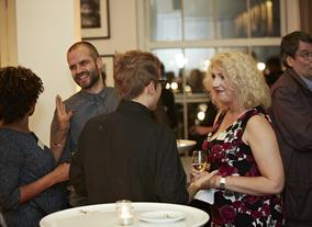 BBC Academy Director and Deputy Chairman of BAFTA; Anne Morrison chats to scholars at the reception