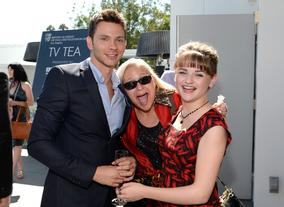Actors Devon Graye and Jamie King with actress Joey King