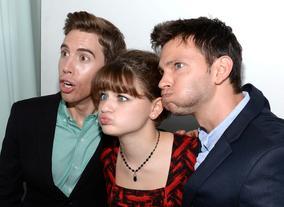 Actors Jordan Gavaris and Joey King with Devon Graye