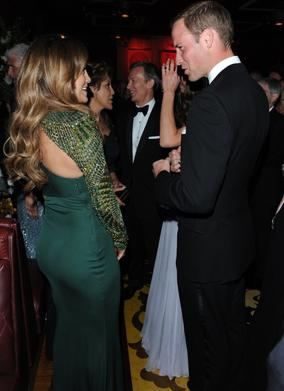 The Duke of Cambridge talks to Jennifer Lopez at the BAFTA Brits to Watch reception.