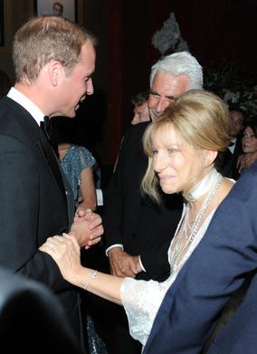 Barbra Streisand and James Brolin meet the Duke of Cambridge at the event reception in Los Angeles