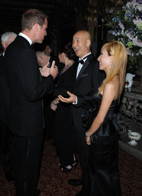 The Duke of Cambridge greets Mr and Mrs Kim