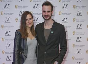 Two members of Media Molecule at the BAFTA Games Nominees Party.