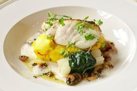 Seared fillet of line-caught cod on saffron mash