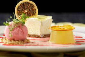 Baked vanilla cheesecake with lemon jelly and Yorkshire rhubarb sorbet