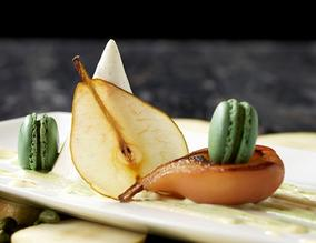 Poached Williams pear and pistachio macaroon