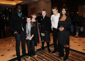 Blue Peter presenters with the nominees for the CBBC me and my movie competition.