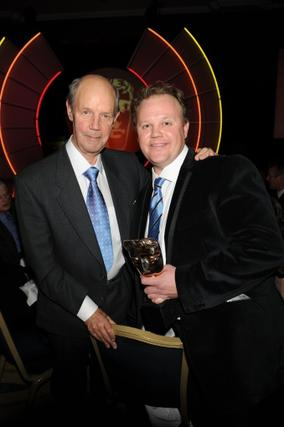 Brian Cant with Justin Fletcher (winner of the Presenter award) at the EA British Academy Children's Awards ceremony in 2010. Pic: BAFTA/Steve Finn