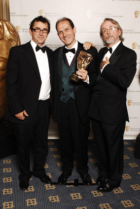 Phil Daniels - one of the stars of Chicken Run - presented Peter Lord and David Sproxton with the Special Award on behalf of Aardman Animations Ltd. (BAFTA / Richard Kendal).