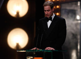 Prince William says a few words about the British Academy Film Awards Fellowship (BAFTA/Brian Ritchie). 
