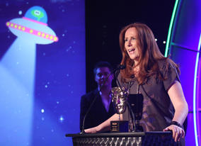 Catherine Tate presents the Academy's Special Award to her Doctor Who co-star, Bernard Cribbins.
