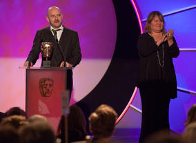 CBBC's Cheryl Taylor and Damian Kavanagh accept the coveted Channel of the Year BAFTA.