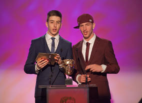 Britain's Got Talent finalists and Olympic Torch Relay performers Twist & Pulse present the award for Learning - Secondary.