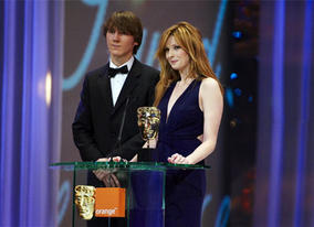 There Will Be Blood star Paul Dano and actress Kelly Reilly onstage to present the Awards for Sound and Editing (pic: BAFTA / Camera Press)