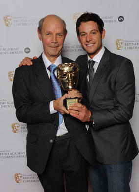 Legendary Kids' TV presenter Brian Cant (Play School, Bric-A-Brac) with Countryfile presenter (and past BAFTA winner) Matt Baker. Pic: BAFTA/Richard Kendal
