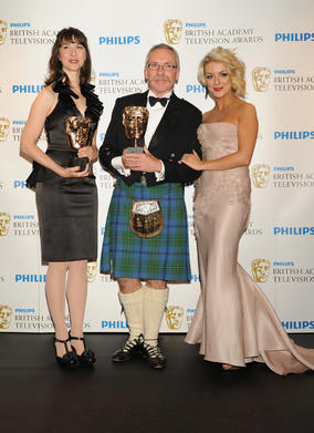 Sandy Johnson and Izzy Mant picked up the BAFTA for Comedy Programme presented by Sheridan Smith for Harry &amp; Paul. (Pic: BAFTA/Richard Kendal) 