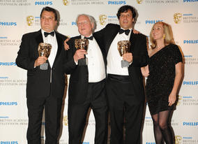 Anthony Geffen, David Attenborough and Sias Wilson, the winning team behind Flying Monsters 3D, which brings the prehistoric world to life. (Pic: BAFTA/Richard Kendal)