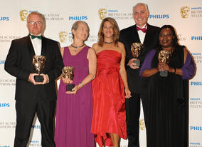 Jezza Neumann and Xoliswa Sithole accepted the Current Affairs BAFTA for Zimbabwes Forgotten Children, along with Brian Woods and Deborah Shipley. The BAFTA was presented by Tracey Emin. (Pic: BAFTA/Richard Kendal)