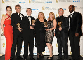 The Road To Coronation Street, which tells the story of the first ever British soap opera, took the Single Drama prize. Kieran Roberts, Charles Sturridge, Rebecca Hodgson, Daran Little and Lynda Barron accepted the award from presenters Olivia Williams and Adrian Lester. (Pic: BAFTA/Richard Kendal)