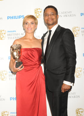 McClure won for her portrayal of Lol in This Is England 86. The award was presented by Cuba Gooding Jr, (Pic: BAFTA/Richard Kendal)