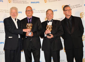 Mark Kermode presenting the Current Affairs BAFTA to the Dispatches team for Terror in Mumbai (BAFTA/Richard Kendal).