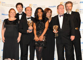 The Thick of It recieves the Situation Comedy BAFTA from presenter Freema Agyeman (BAFTA/Richard Kendal).
