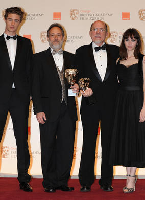 Citation readers Max Irons (l) and Felicity Jones with Sound winners Ed Novick and Richard King. (Pic: BAFTA/Richard Kendal)