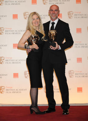 Make-Up &amp; Hair winners Valli O'Reilly and Paul Gooch. (Pic: BAFTA/Richard Kendal)