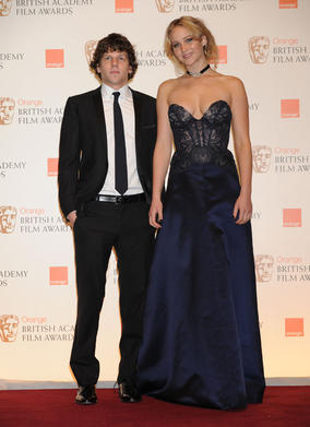 Jesse Eisenberg (The Social Network) and Jennifer Lawrence (Winter's Bone) announced Inception as the Special Visual Effects winner. (Pic: BAFTA/ Richard Kendal)