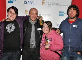 BAFTA Mentor Alan de Pellette (second left) with young people and a youth worker from Fairbridge in Glasgow.