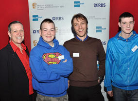 BAFTA Mentor Angus Dixon with a young person and Marie Cooke from Fuse Youth Café, Glasgow.