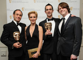 The winning sound team behind the BBC4 documentary, with presenters Vicky McClure and Daniel Rigby. (Pic: BAFTA/Chris Sharp)