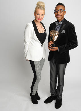 Actress Carly Stenson who presented the Performer BAFTA to Khalil Madovi for his role in CBBC's 4 O'Clock Club.