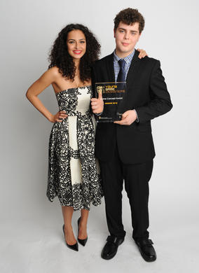 Former Hollyoaks and Harry Potter actress Anna Shaffer, with Charlie Hutton-Pattemore (15), who won the BAFTA Young Game Designers Game Concept Award with Vacuum Panic.