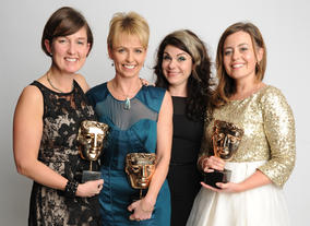 Writer Caitlin Moran presented the Factual BAFTA to the team behind My Life: Me, My Dad and His Kidney: Rachael Smith, Cat Lewis and Helen Tither.
