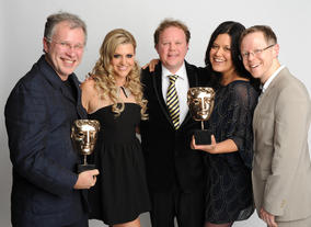 Presenter Anna Williamson with the winning team behind Justin's House, including Stephen Cannon and Anna Perowne, plus performer Justin Fletcher.